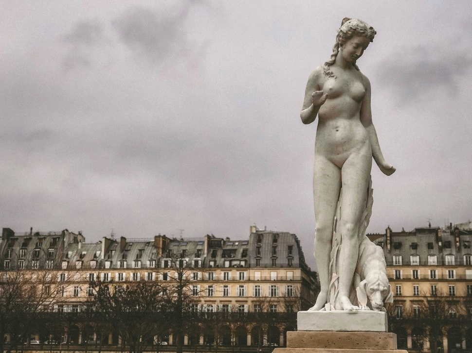 Statue in Tuileries Gardens, Paris France