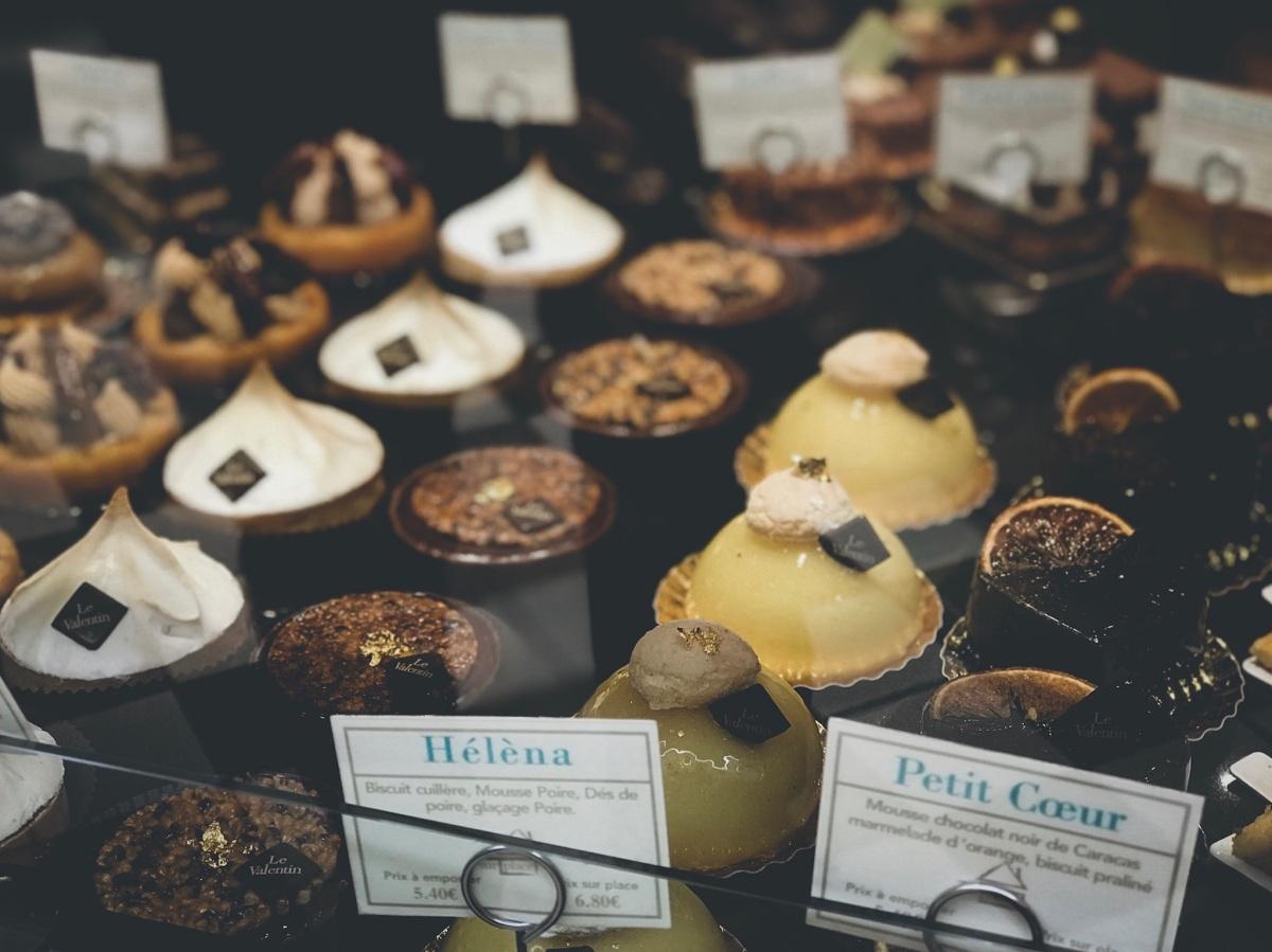 Pastries in bakery window, Paris
