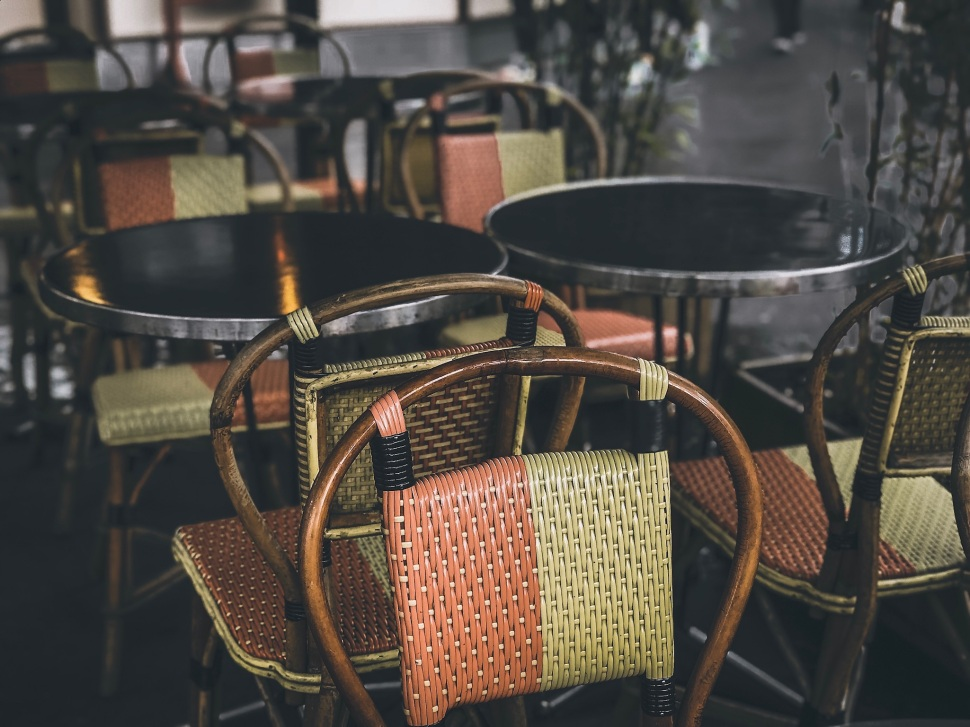 Café chairs at Place Gambetta, Paris France
