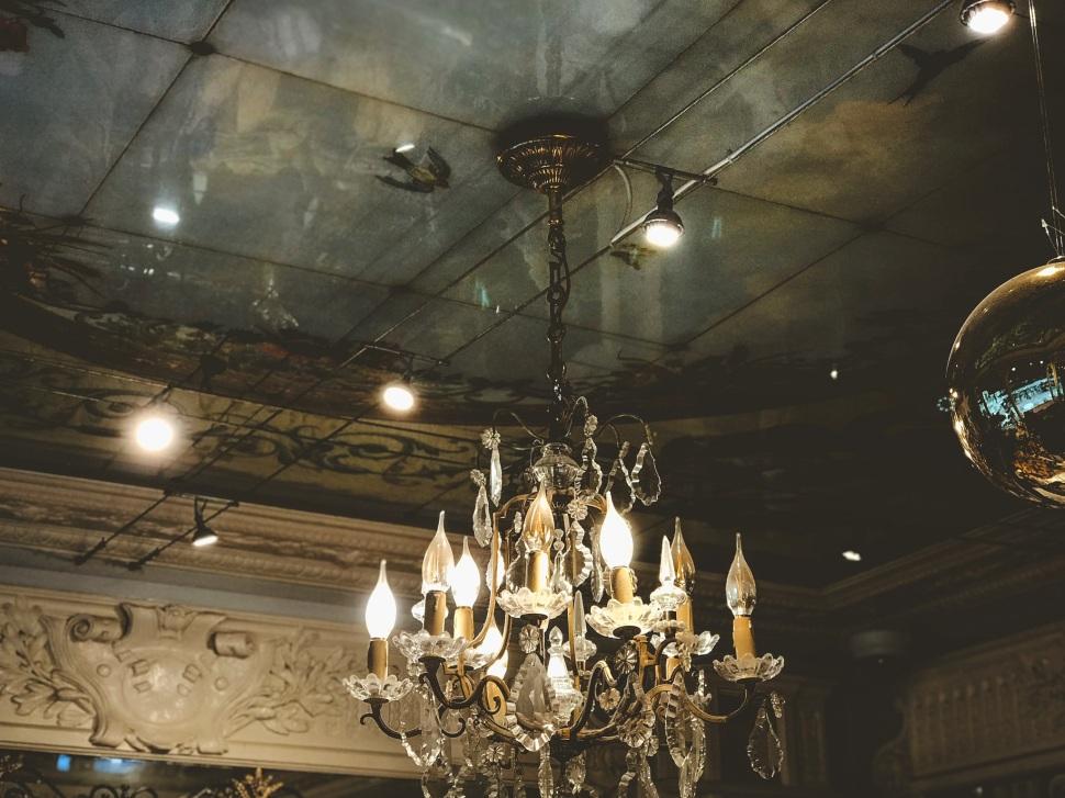 Bakery chandelier in the Marais, Paris France
