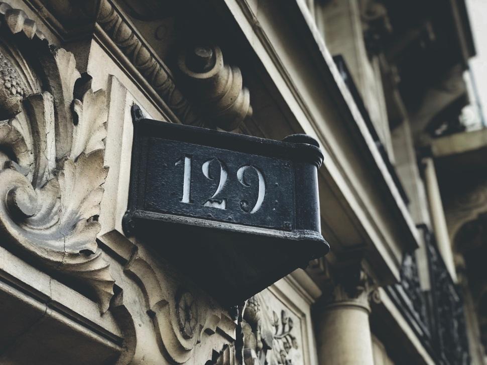 Address plaque on Boulevard St Germain, Paris France