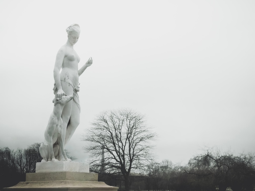 Statue at Tuileries Gardens, Paris France